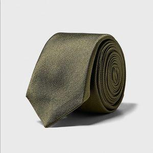 Zara khaki narrow textured weave silk tie NWT